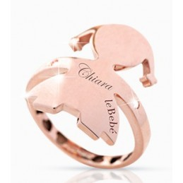 Anello bimba oro rosa leBebé ''Gli Abbracci'' LBB 124-N